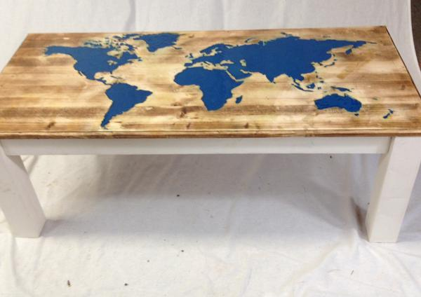World Map Hand Crafted Coffee Table Product Of The Month